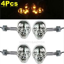 4 Chrome Skull LED Turn Signals For Kawasaki Vulcan Classic Custom 2000 800 900