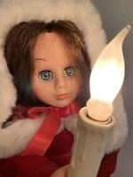 "Vintage Rennoc Caroler 24"" Christmas Animated Electric Candle Victorian Girl"