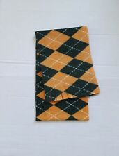 "GOLD AND GREEN ARGYLE FLEECE SCARF-HANDMADE 8"" W x 60 L"""