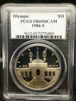 1984-S Olympic Silver Commemorative Dollar PR69DCAM PCGS Proof 69 Deep Cameo