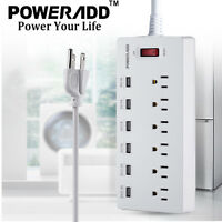 6ft 6 Outlet Power Strip 6 USB Charging Port With Surge Protector Lightningproof
