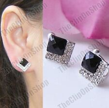 CLIP ON art deco crystal studs BLACK SQUARE EARRINGS silver rhinestone vintage