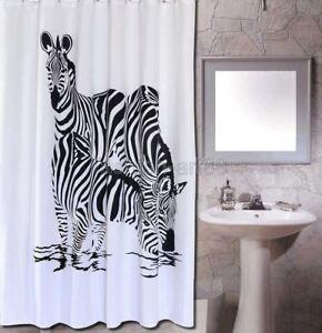 Black & White Animal Zebra Design Bathroom Fabric Shower Curtain fs314