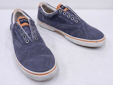 SPERRY TOP-SIDER Mens 13 Blue Gray Cotton Slip On No Laces Boat Shoe Loafers