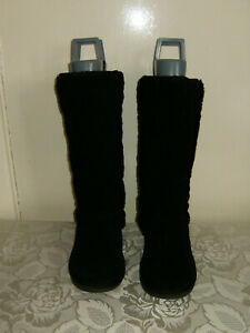 """Size 5 Black Suede Thick Fur Lined 1"""" Pull On' Flat sole Mid Calf Boots V/G/Cond"""
