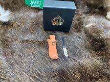 PUMA Stag Miniature White Hunter Knife & Leather Sheath In Factory Box Mint Nice