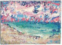ROSY SKY BEACH. Original Acrylic Ocean Landscape Knife Painting ACEO small ART