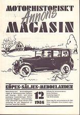 Motorhistoriskt Magasin Annon Swedish Car Magazine 12 1986 Plymouth 032717nonDBE