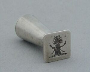 ANTIQUE SOLID SILVER WAX LETTER SEAL ENGRAVED CREST WHEAT SHEAF & SNAKES