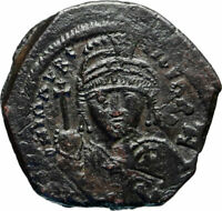 MAURICE TIBERIUS Authentic Ancient Constantinople Follis BYZANTINE Coin i83019