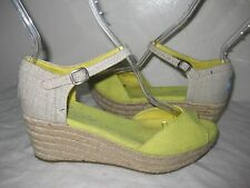 TOMS Yellow / Gray  Canvas Open Toe Wedge Sandals Shoes Size W 6