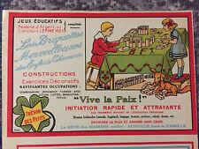 Jeu Jetons Lattes Briquettes VIVE LA PAIX Concours Lépine 1923 Imagerie original