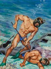 POSTCARD / Peter POULTON / Scuba Diver Rescue, 1952