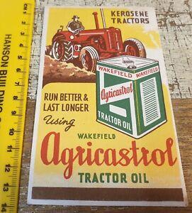 1940s ? WAKEFIELD AGRICASTROL TRACTOR OIL  Original INK BLOTTER