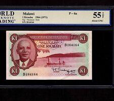 Malawi 1 Kwacha 1964(1971) P-6a * WBG AU 55 TOP * Rare *