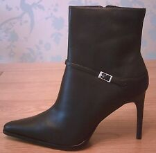 Women's Black Leather Ankle Boots with Stiletto Heel Size 6 NEW/Boxed