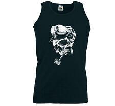 Rockabilly Tank Top muscular camisa brando Skull marinero capitán Beach