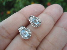 Sterling Silver - VICTORIA TOWNSEND Blue Topaz DIAMOND Accent 1g - Stud Earrings