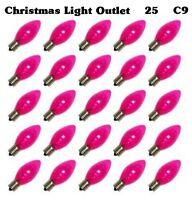 FREE SHIP 25 C9 Pink Transparent Incandescent Valentine Xmas Light Glass Bulbs