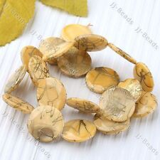 1Strand 20mm Yellow MOP Shell Round Coin Stripe Loose Bead Jewelry Making DIY