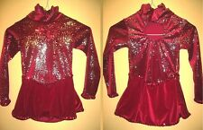 NEW Ice Figure Skating Dress Red velour with fireworks design Girl 4 6 yrs