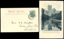 SOMERSET WELLS 1903 UB PPC VFU WELLS CDS POSTMARK to BUSHEY HERTS