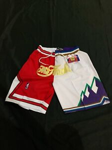 secado r/ápido Chicago Bulls retro de baloncesto bordado WXJJ transpirable dise/ño de Michael Pantalones cortos de baloncesto para hombre tejido doble