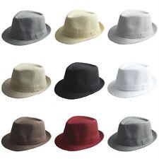 Women Men Solid Cotton Blend Fedora Trilby Caps Gangster Hats Jazz Cap Size L