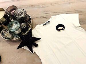 KARL LAGERFELD T-Shirt Shirt Weiß Print NEU UNGETRAGEN Gr. XS 34