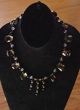 LARGE Kornerupine gemstone OLIVE GREEN beaded + jet necklace PENDANT New $180