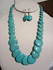 Flat Circle Turquoise Stone Gradual Necklace Earring Set