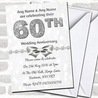 White Bokeh & Silver Glitter Look 60Th Anniversary Party Invitations