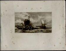 Gravure du XIXe siècle et avant en paysage marin, bateau pour Romantisme