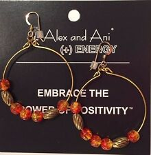 Alex and Ani ~ Watercolor Beaded Wire Hoop Drop Earrings in Tangerine ~ w/ Pouch