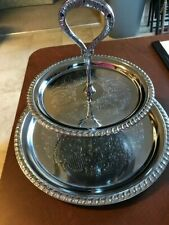 Vintage Irvinware 2 Tier Serving Tray Chrome Plated Ornated Design 1971