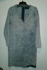 NEW JEAN COLONY LADIES L/S BLUE STONE WASHED JEAN DRESS WITH ZIPPER IN BAC