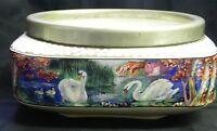 Lancaster & Sons China Luster Bowl Swan Scene Square Shape Hanley England