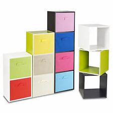Wooden Cubed Cupboard Storage Units Shelves With Drawer Insert Baskets Organiser