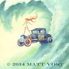 Super Six, Model A Ford Art Print By Matt Yost, Surfing Weirdos Series