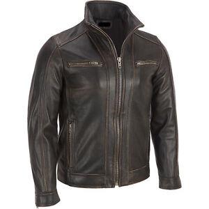Men's BLACK Rivet Leather Faded-Seam Jacket Genuine Leather Jacket