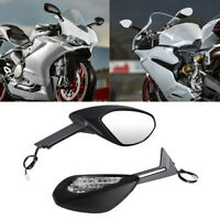 Black Mirrors Set With Amber Turn Signals For Ducati 1299 Panigale S 2015 2016