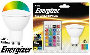 Energizer Colour Changing Bulb GU10 LED RGB+W Lighting 4.5W>35W Remote Control