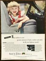 1948 Body by Fisher Print Ad Passenger Seat Girl Missing Two Front Teeth Emblem