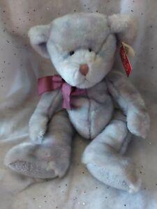 "Russ Berrie Opal Teddy Bear Plush Multicolor Stuffed Animal Toy Bow Retired 16"""