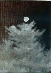 ACEO Original Acrylic Clouds Night Moon Cloudscape Birds Miniature Art ATC HYMES