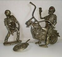 Partha Pewter Skeletons and Motorcycle Figure Lot for Repurposed Projects 7 oz
