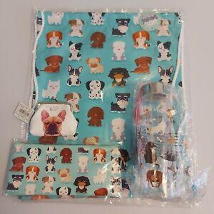 dog gift bundle back to school drawstring bag pencil case water bottle purse