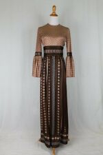 Vintage Nancy Greer Brown Gingham Bell Sleeve Maxi Dress with Flounced Skirt S M