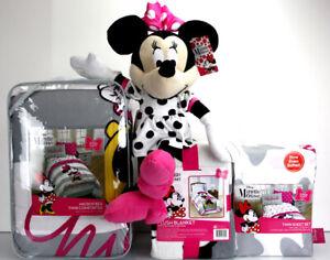4/ 6 pc- Disney MINNIE MOUSE Comforter +Sheet Set +Blanket + MINNIE Plush Doll