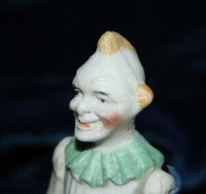 "Antique Bisque Clovn Dollhouse Doll China  2 7/8"" - 7 cm c. 1910"